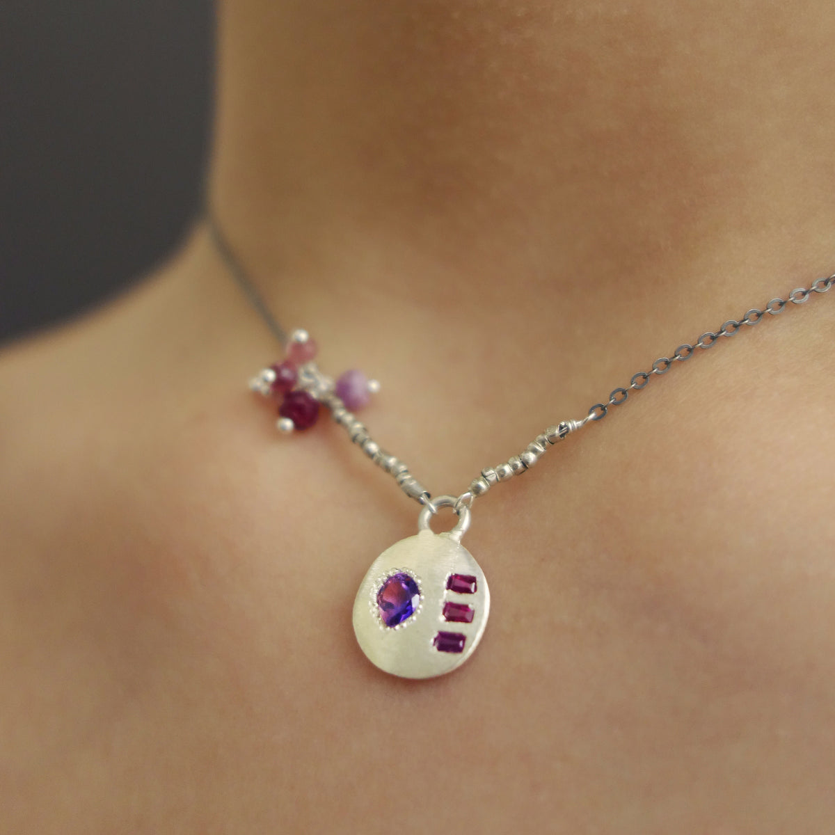 Don't Mess with My Heart: heart cut amethyst and ruby necklace
