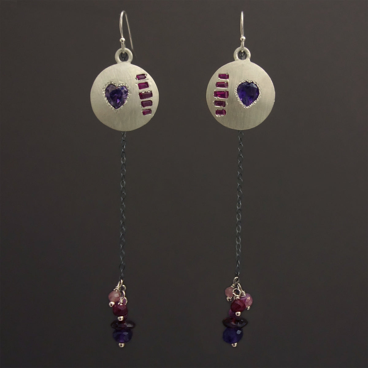 My Heart, My Masterpiece: Amethyst and Ruby earrings