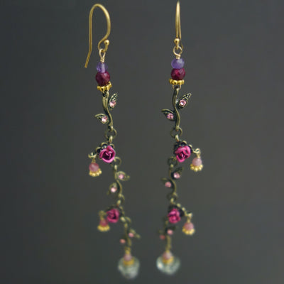 The Secret Garden: presiolite, pink sapphire earring