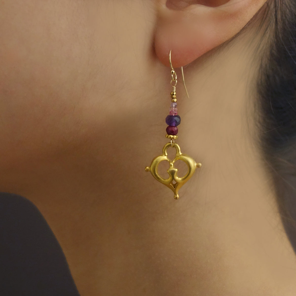 Beat of My Heart: ruby, amethyst, and vintage gold earring
