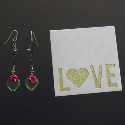 Piece of My Heart: vintage glass and amethyst earring