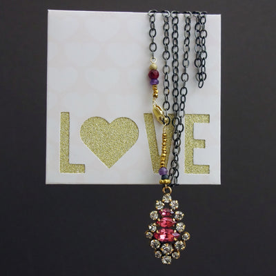 Listen to Her Heart: vintage crystal, ruby, and oxidized silver