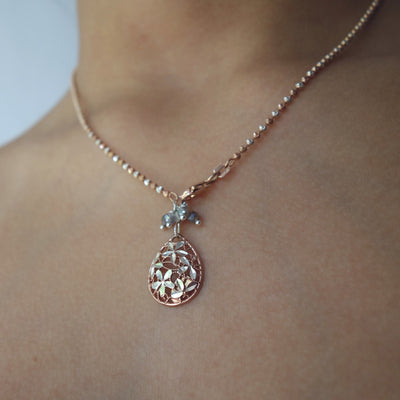 Wanderlust Rose Gold and Silver Teardrop Dangle Necklace (Florence)