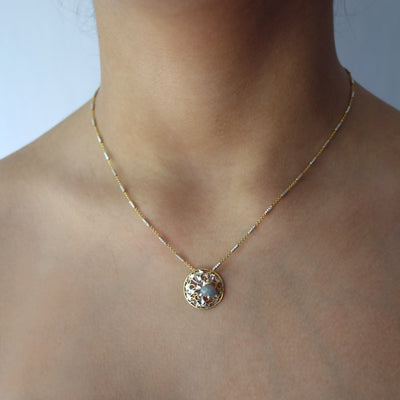 Wanderlust Gold and Silver Lace Pendant necklace (Florence)