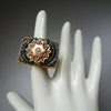 Rose Gold on Gold Vintage Flower with Sapphires Mosaic Ring (Wanderlust Paris)