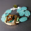 Aquamarine, Gold, and Silver Mosaic bracelet (Wanderlust Paris)