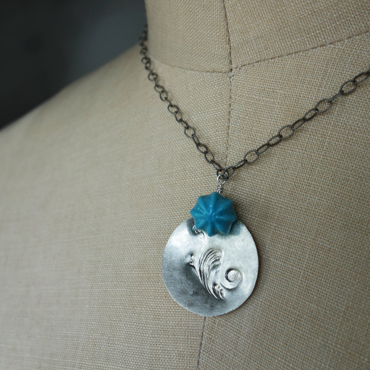 Hand Stamped Sterling with Vintage Button Necklace (Wanderlust Paris)