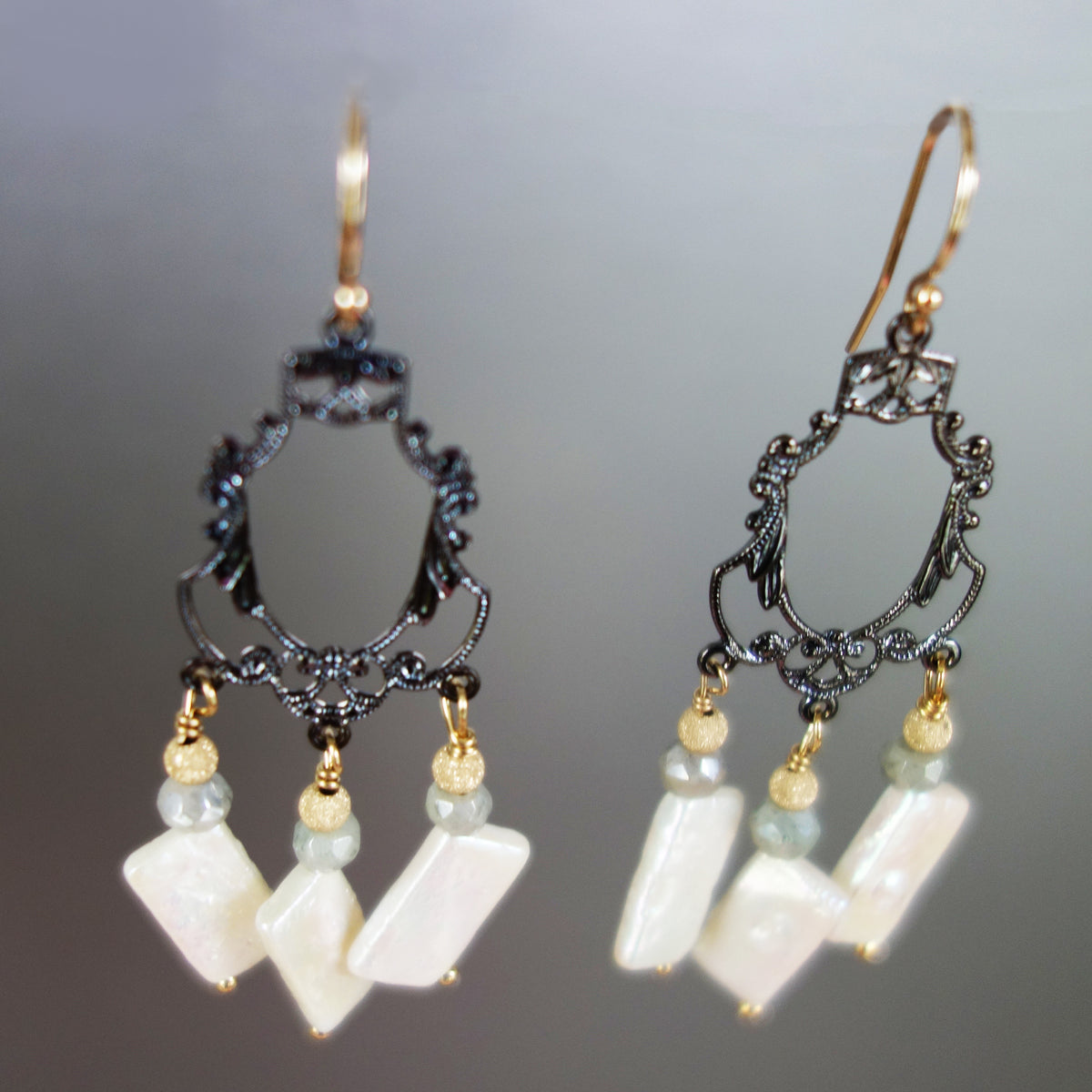 Silver, Gold, and Pearl Chandelier Earrings (Wanderlust Paris)