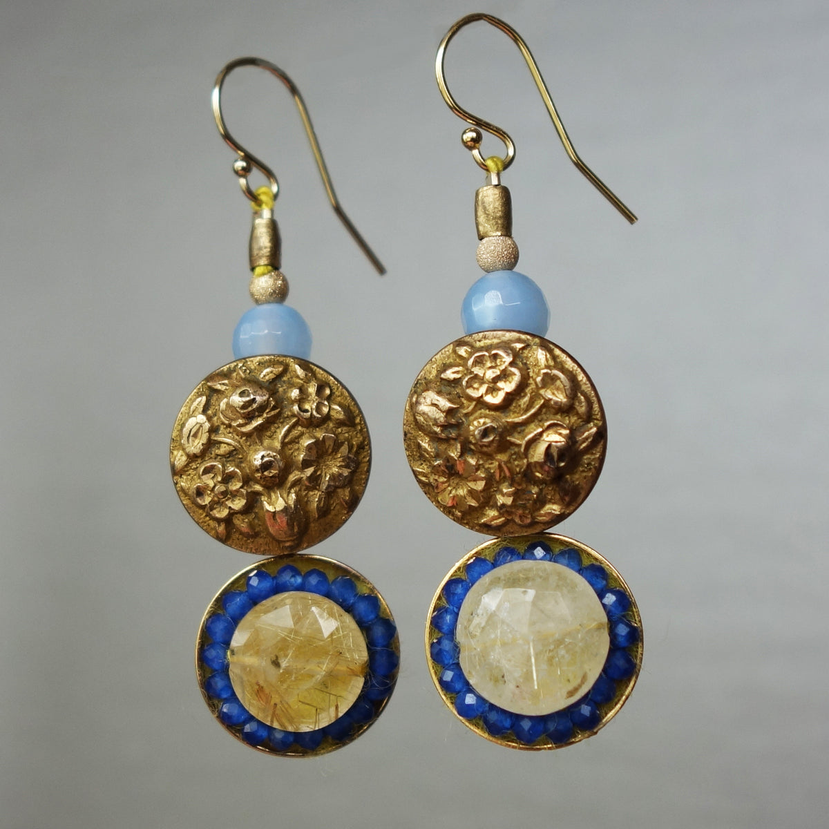 Ooo La La Vintage Gold Mosaic Earrings (Wanderlust Paris)