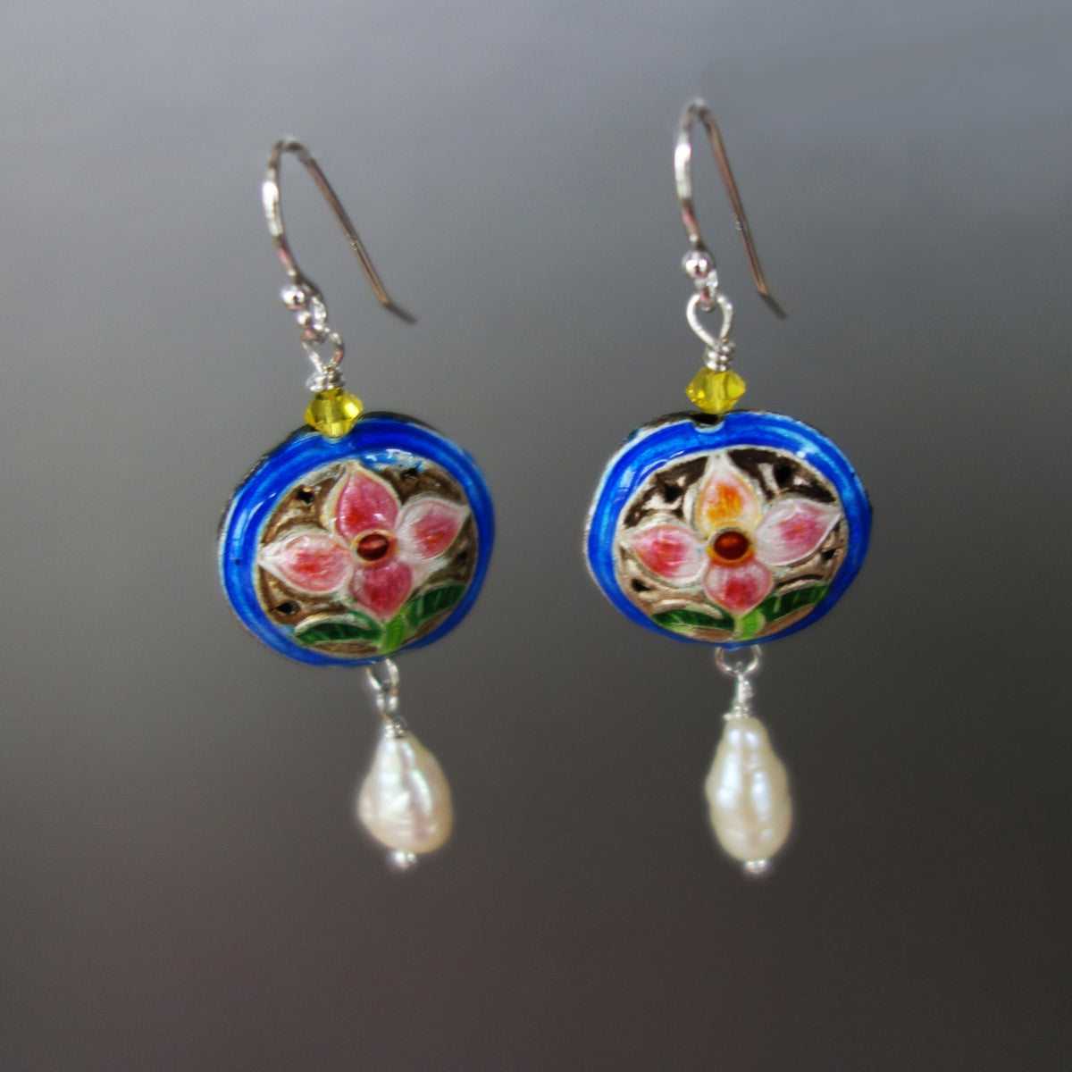 Cloisonné and Pearl Earrings for the Ladies of the Court (Wanderlust Paris)