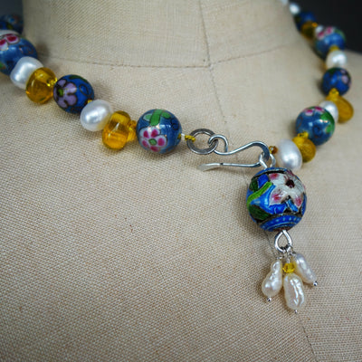 Pearl and Cloisonné Paris Necklace (Wanderlust Paris)