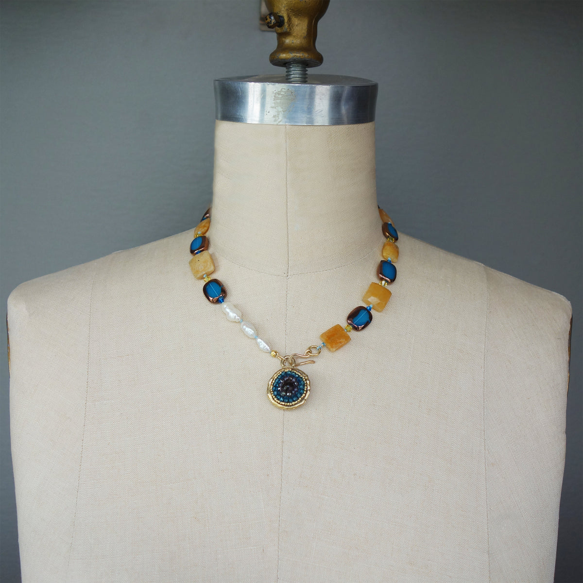 Sapphire, Pearl, and Jasper 2 Sided Mosaic Necklace (Wanderlust Paris)