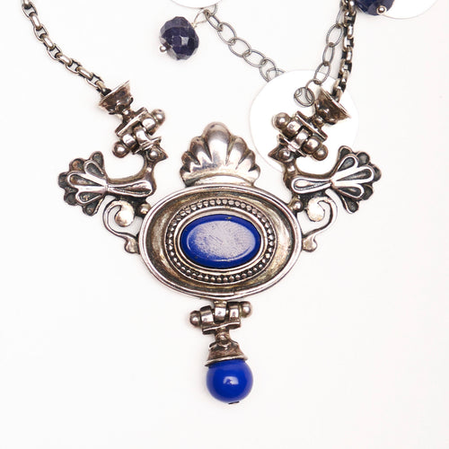 Nights in Hydra: lapis and silver necklace