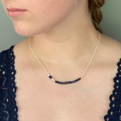 Moxie Blue Sapphire, gold, and silver necklace