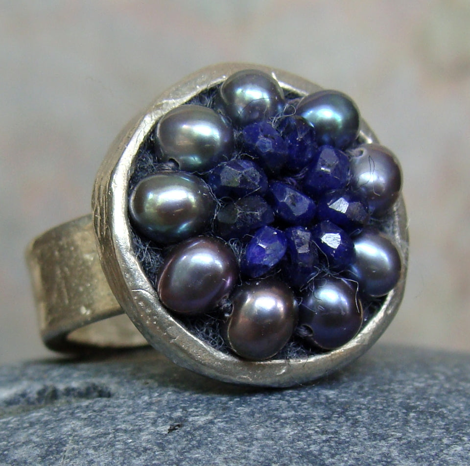 Sapphire and silver mosaic ring