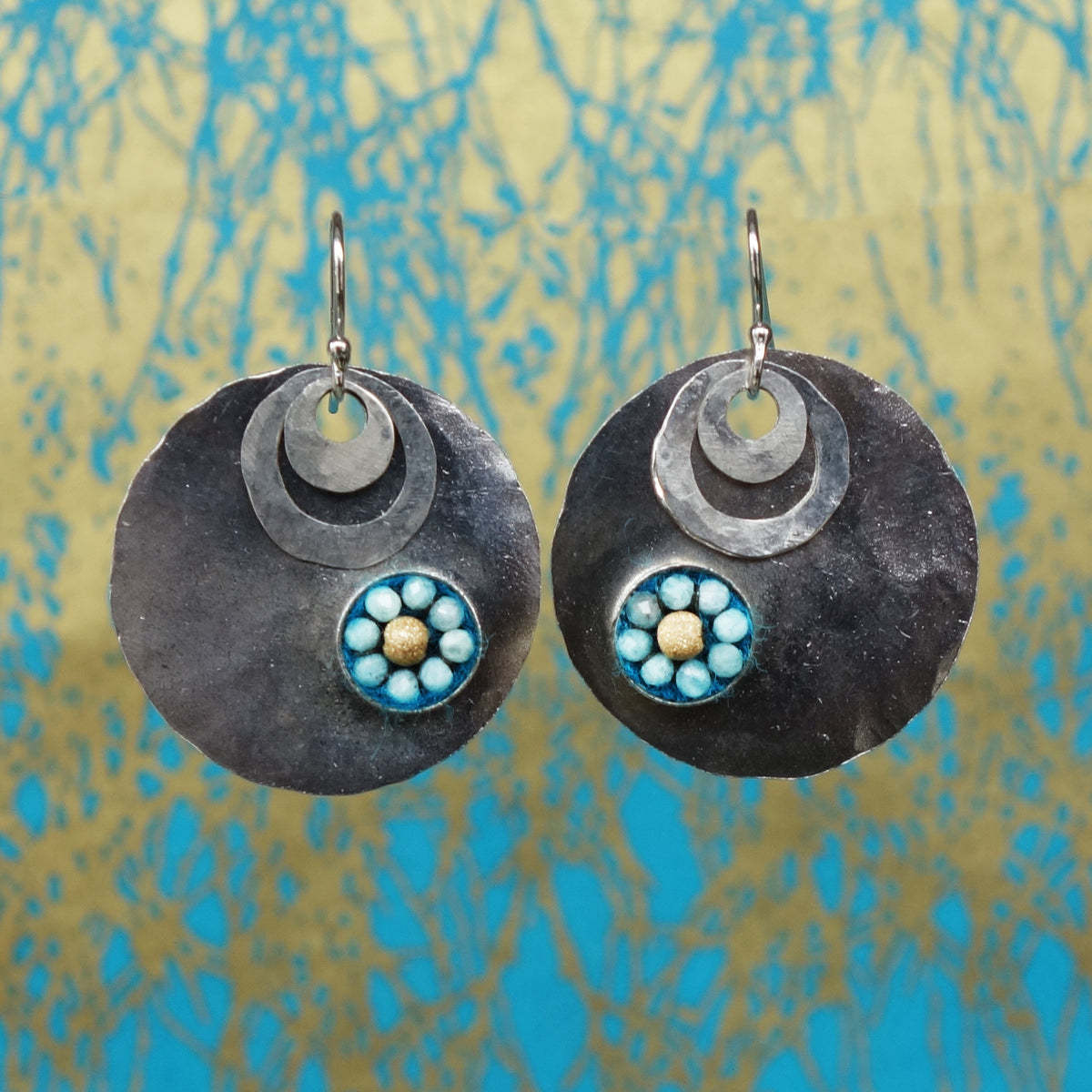 Aquamarine and Gold on Hand Hammered Silver Earring