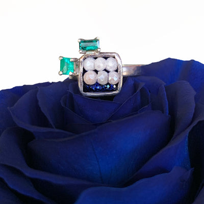 Emerald and Blue Sapphire Mosaic Ring