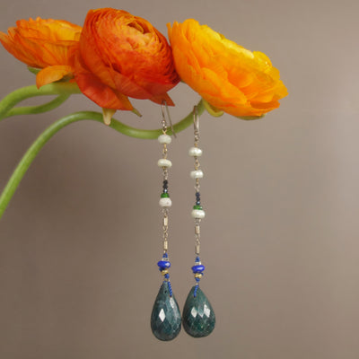 Emerald and Lapis Drop Earrings