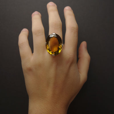Jolleen's Ring: faceted cognac citrine