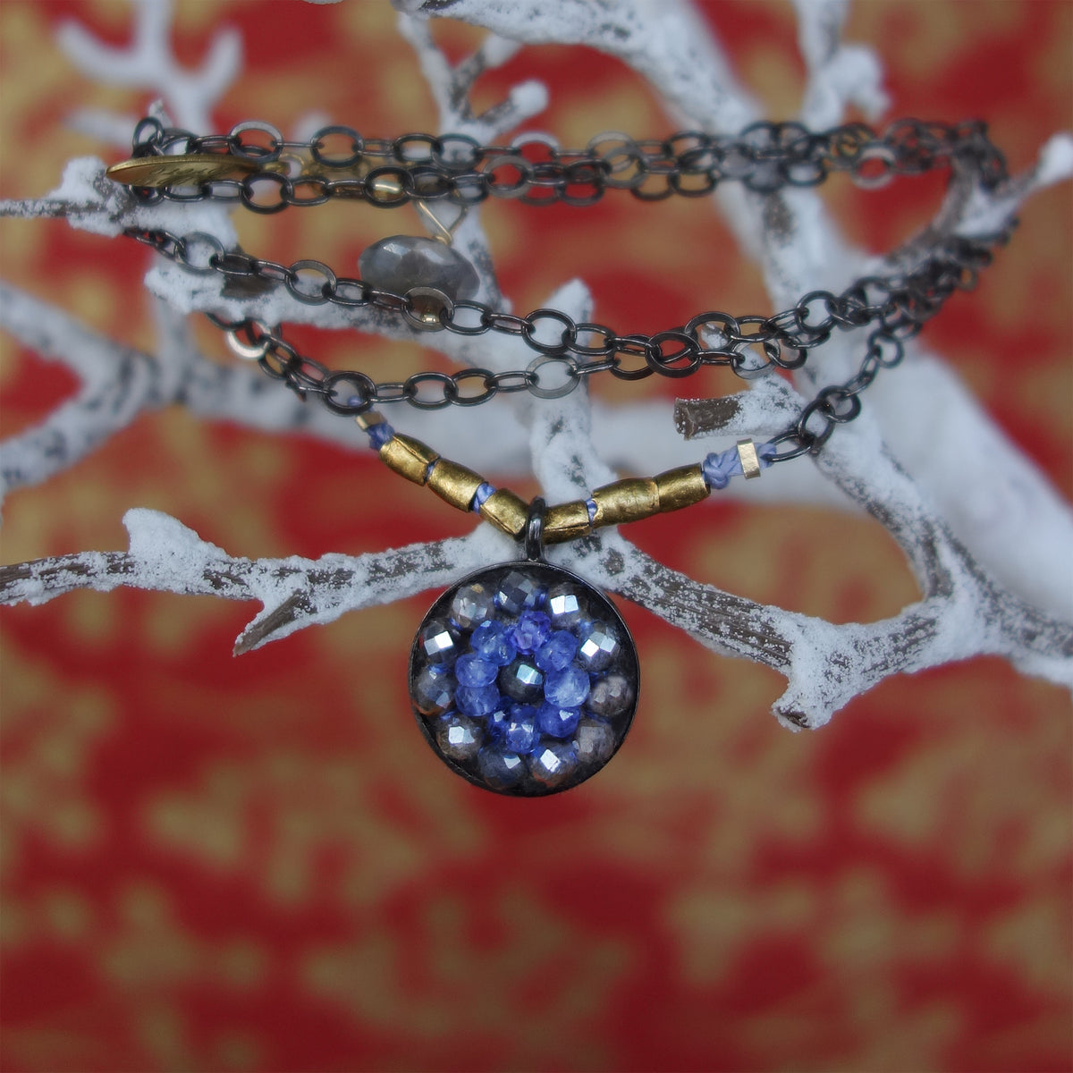 Tanzanite and Labradorite Tango Together mosaic necklace