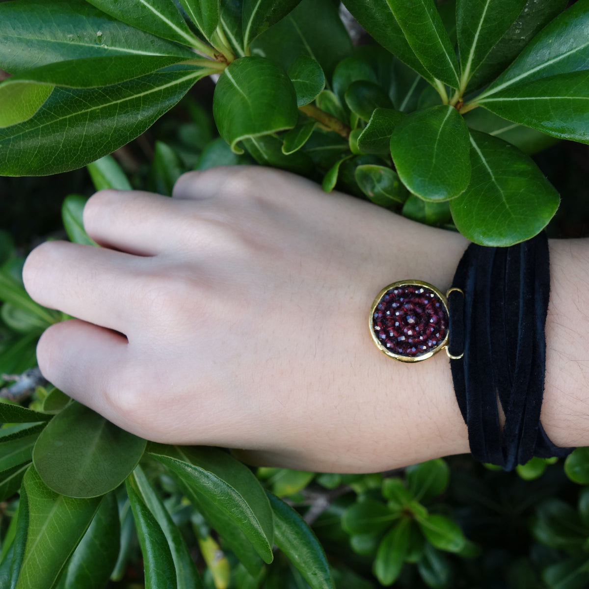Iconic Garnet Bracelet/Necklace on Leather
