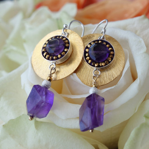 Amethyst and Brushed Gold mosaic earring