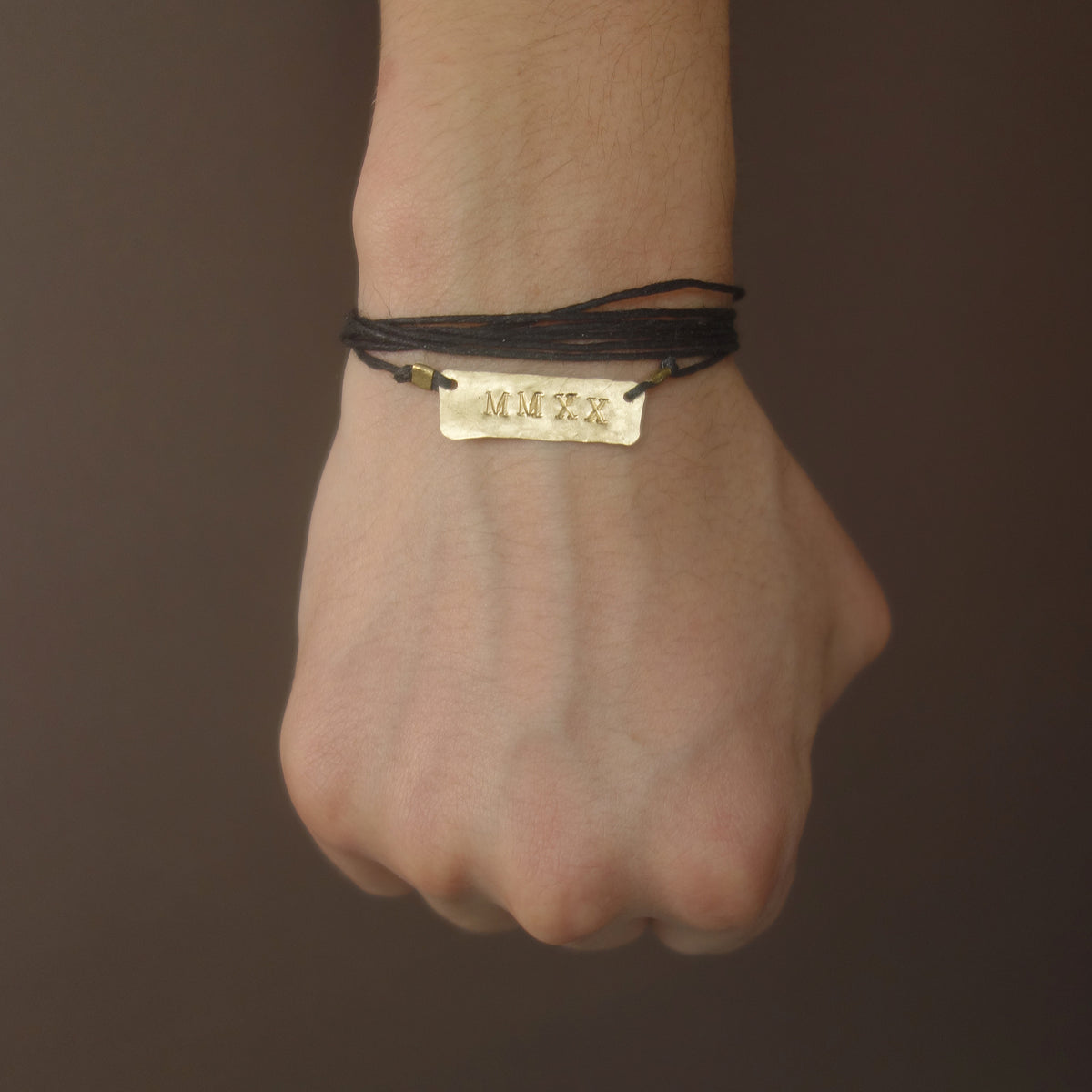 MMXX: hand hammered gold on leather necklace/bracelet