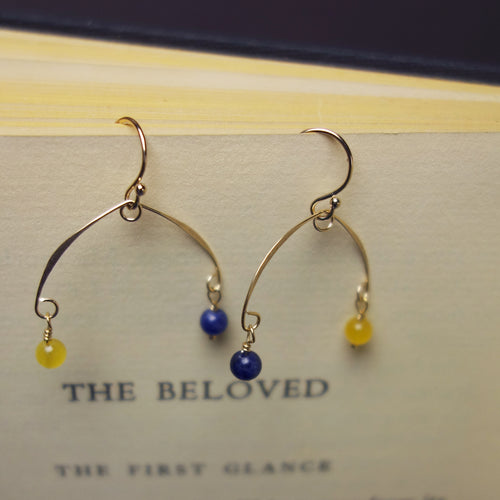 Hammered gold/silver earring, you choose your school colors (gemstones)