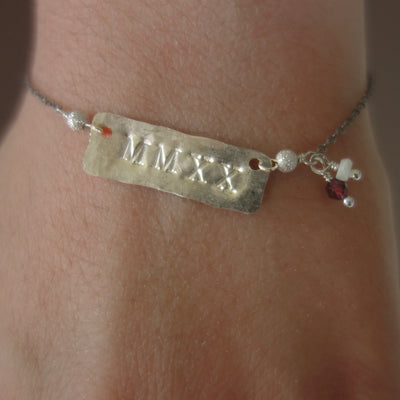 MMXX stamped silver/gold bracelet, with your school colors (gemstones)