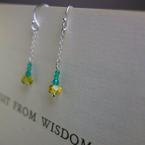 Chain earring in your school colors (gemstones)