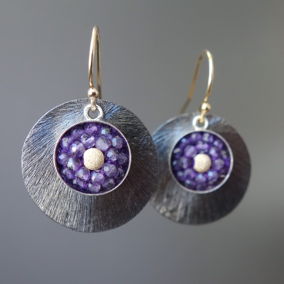 Amethyst and Gold Mosaic Earring with Oxidized Silver