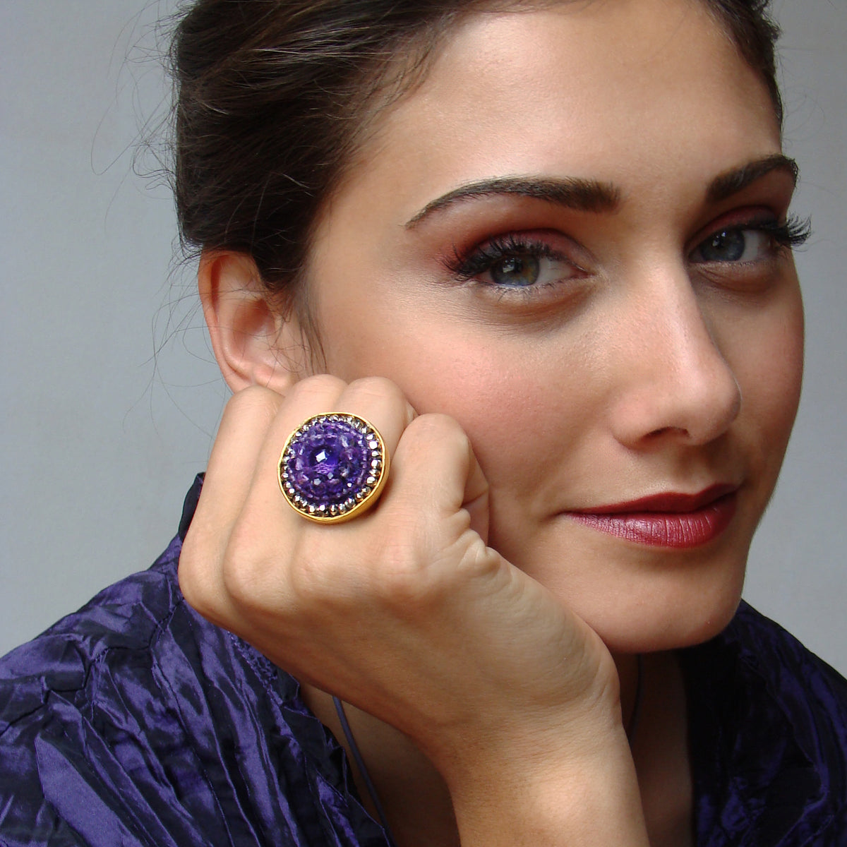 Royal Violet amethyst mosaic ring