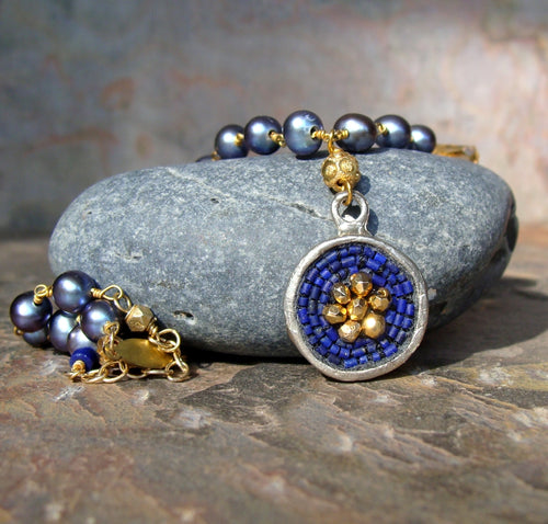 Pearl and lapis mosaic necklace