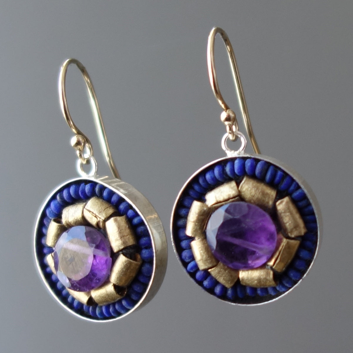 Amethyst, Gold, and Lapis Lazuli mosaic earring