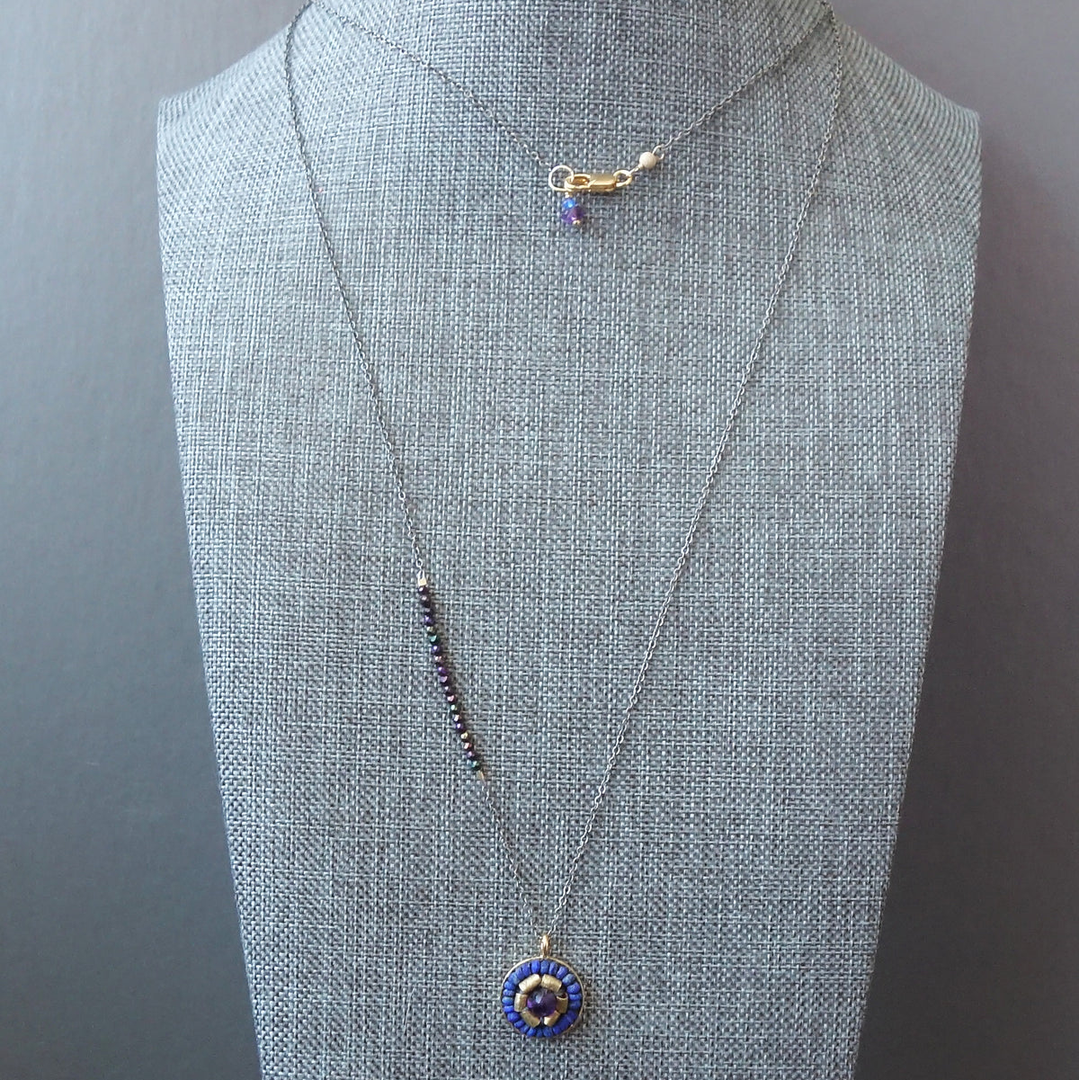 Amethyst, Gold, and Lapis mosaic pendant necklace