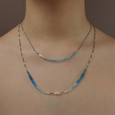 Faceted Apatite BAR necklace