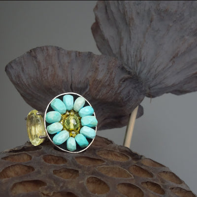 Lemon Topaz and Turquoise mosaic ring