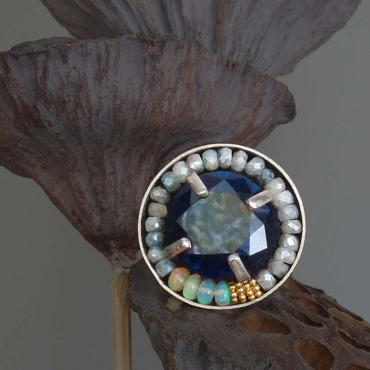 London Blue Topaz, Opals, and Gold mosaic ring