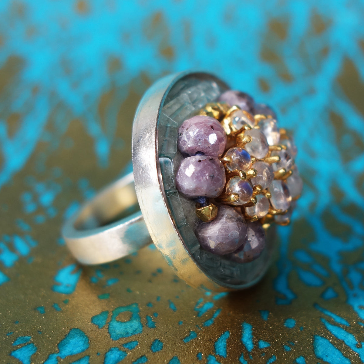 Moonstone, Pink Sapphire, and Aquamarine Mosaic Ring