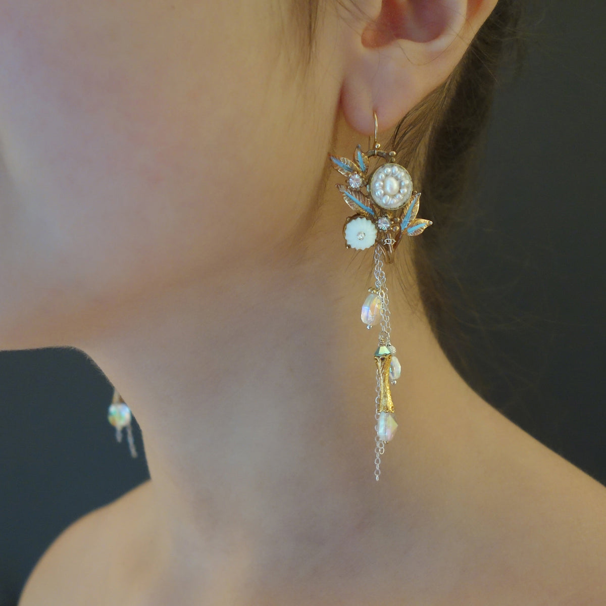 That Goddess in Versailles pearl mosaic and gold ear
