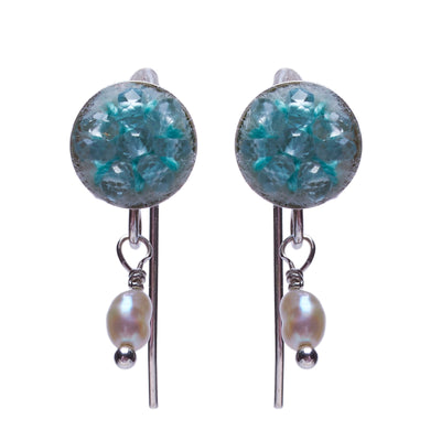 Aquamarine Earrings with Pearl drop