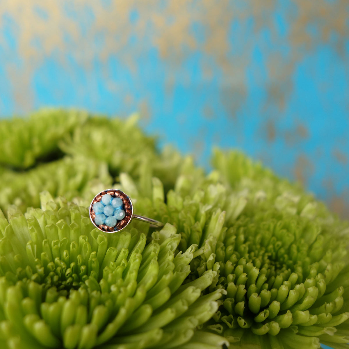 Aquamarine and African Copper Mosaic Ring