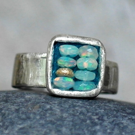 Somewhere Over the Rainbow Opal ring