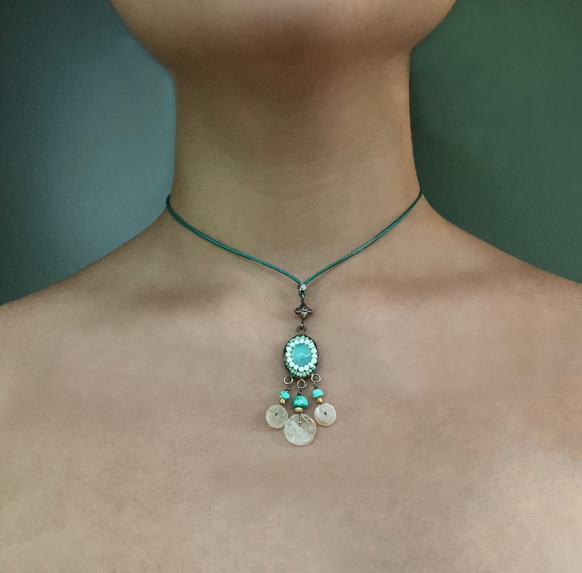 Peruvian Opal with Tibetan Turquoise necklace