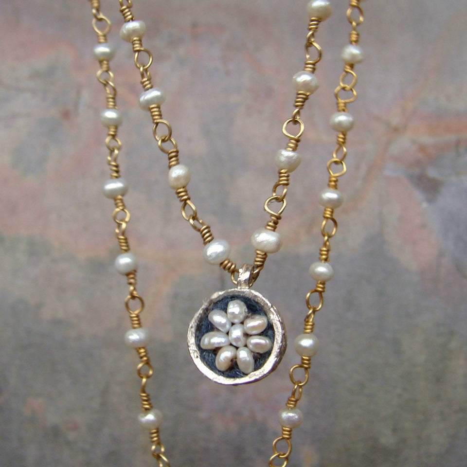 She is a Treasure: pearl mosaic on pearl chain necklace