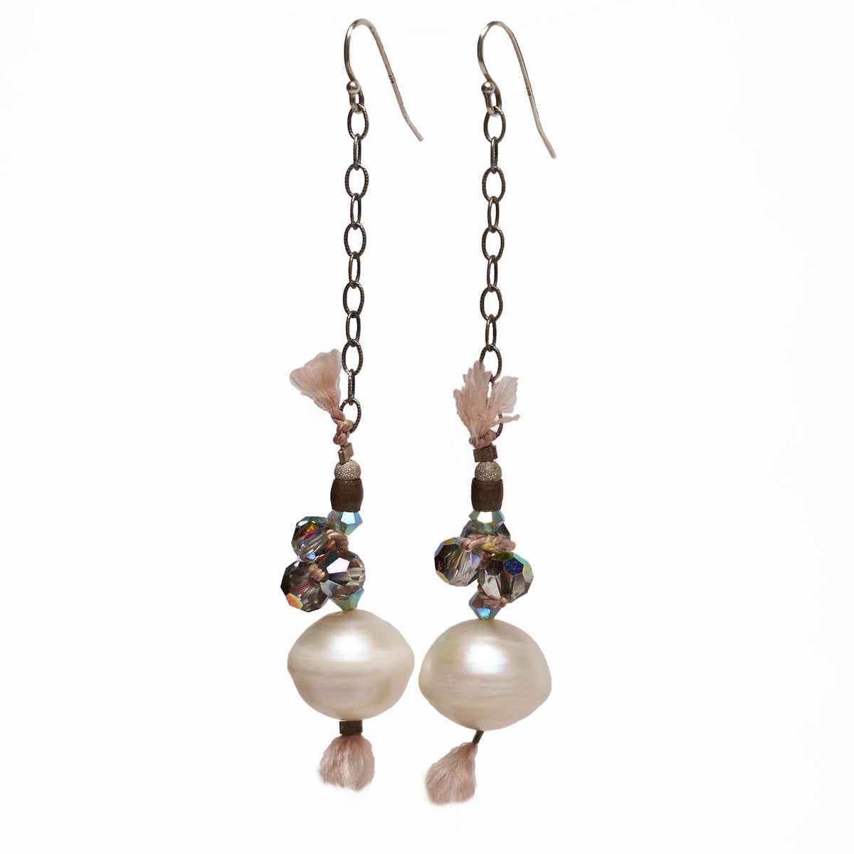 Pearl and Vintage Crystal woven on silk earrings