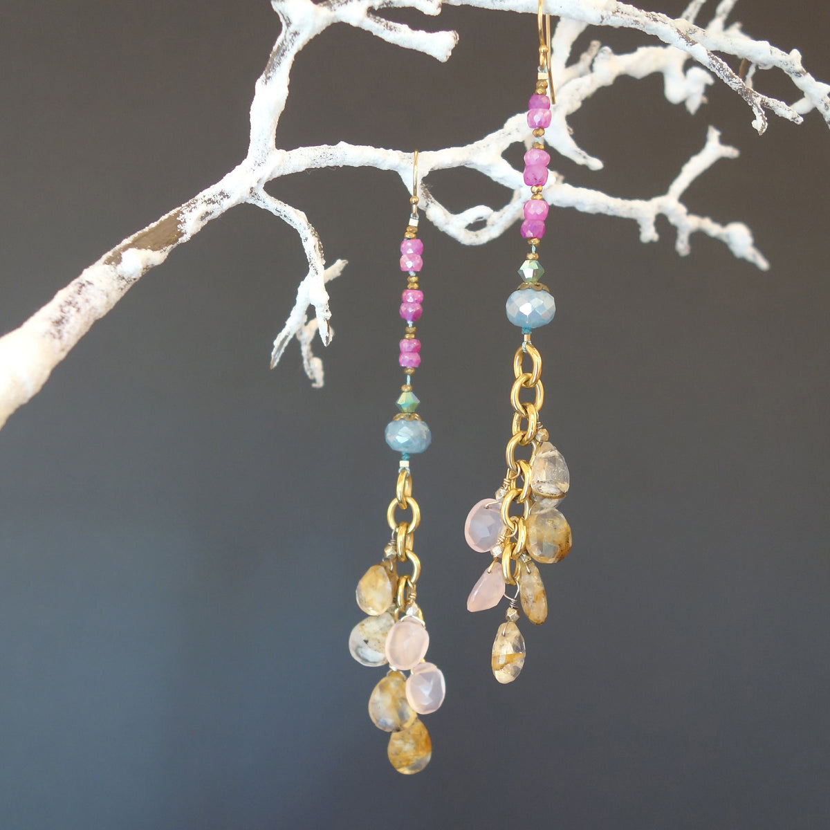 Glamorous Gold, Pink Sapphire, and Rose Quartz earrings
