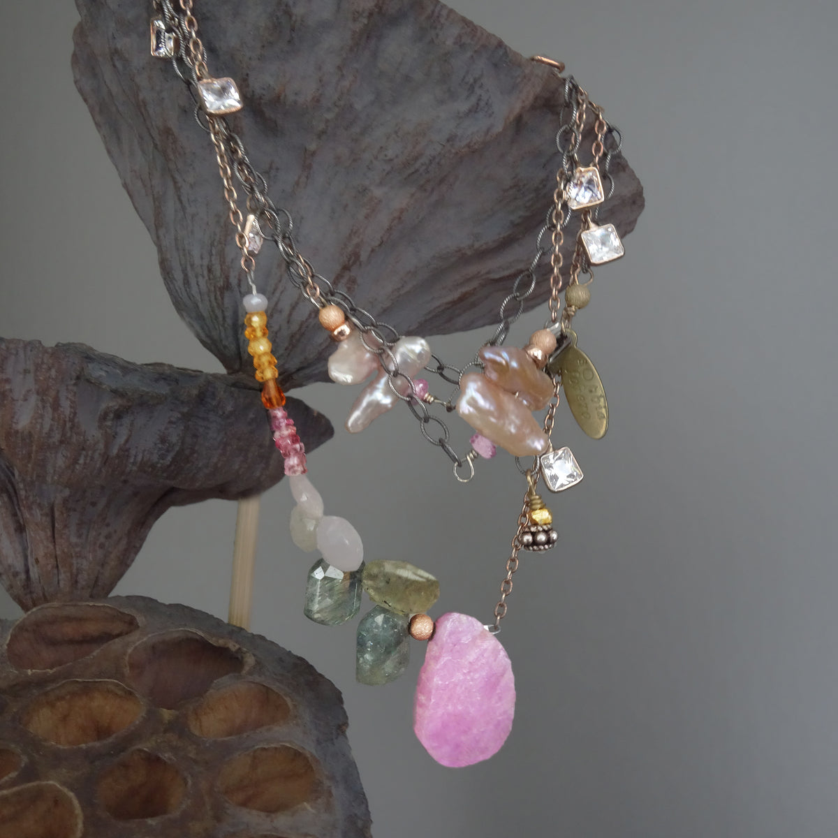 Shine on Harvest Moon (sapphire, opal, and rose gold necklace)