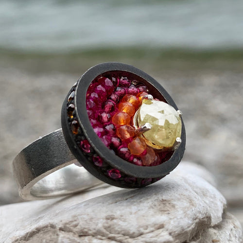The Joy of my World: diamond, ruby, and sapphire mosaic ring
