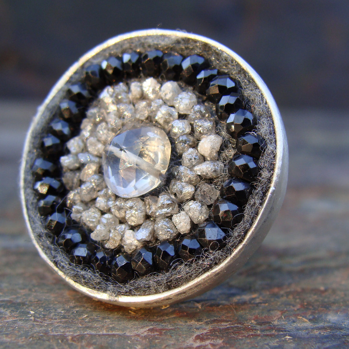 Raw diamond and black sapphire mosaic ring
